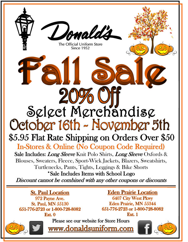 Donald's Uniform Fall Sale includes 20% off